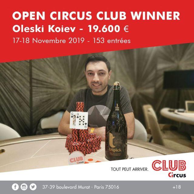 Le vainqueur de l'Open Circus Club