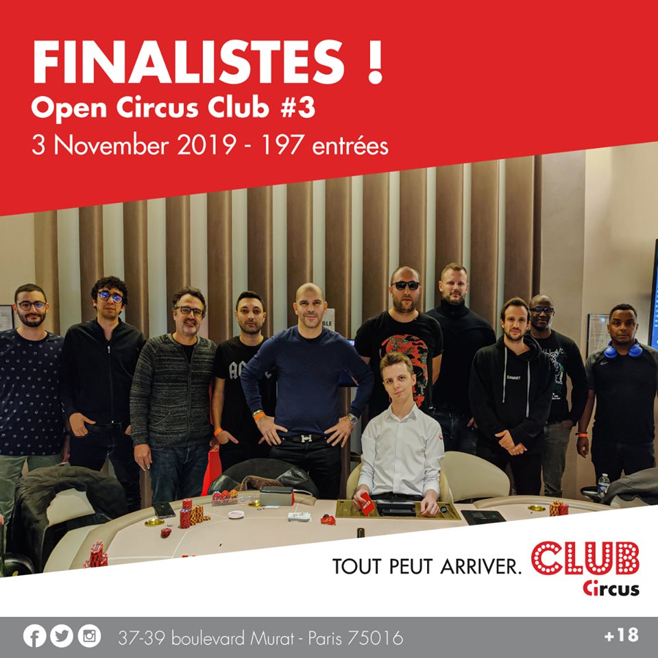 La table finale de l'Open Circus